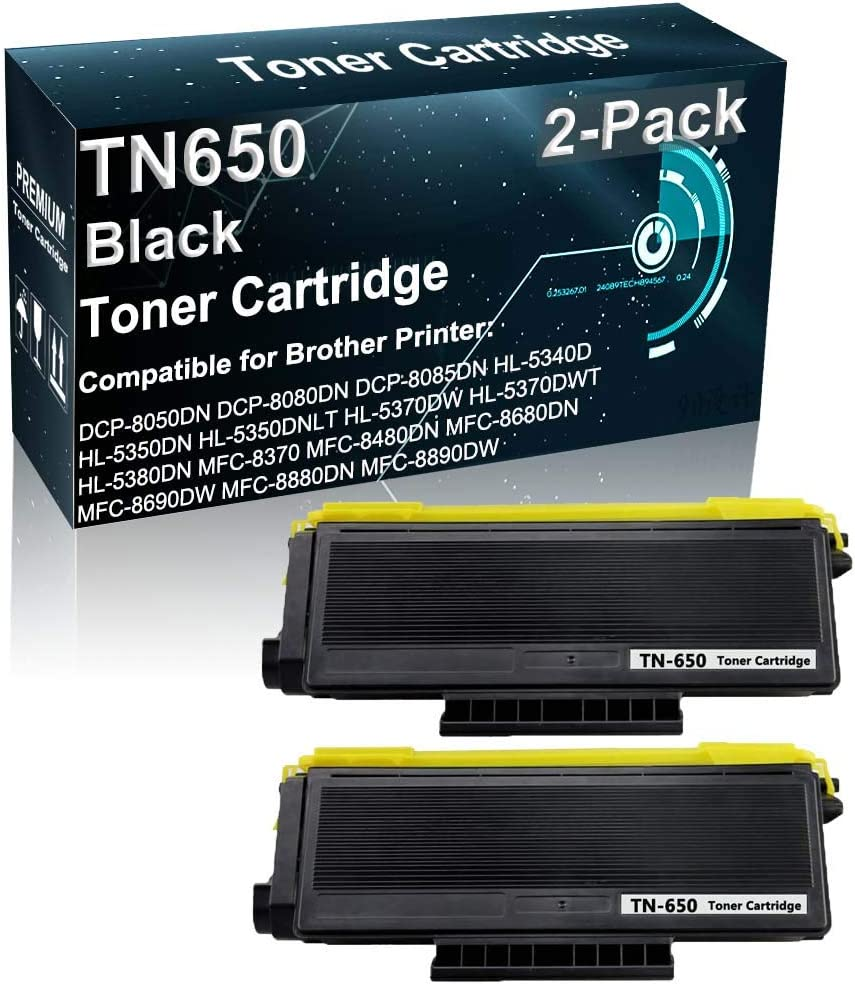 2-Pack Compatible Toner Cartridge High Yield Replacement for Brother TN650 TN-650 Laser Toner Cartridge Fit for Brother DCP-8080DN HL-5350DN MFC-8680DN MFC-8880DN Printer (Black 8,000 Pages)