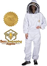 Beekeeping Suit and Bee Family Stickers - Medium - YKK Metal Zippers - Men & Women - Total Protection - Self-Supporting Fencing Veil for Beekeepers - Easily Take On & Off - 10 Pockets