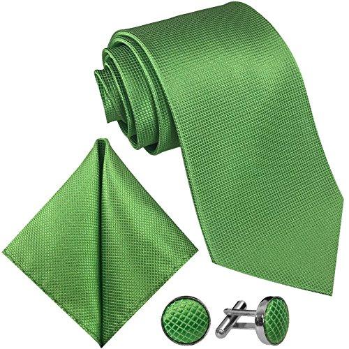 GASSANI 8cm Breite Herrenkrawatte Krawattenset Hell-Grüne Karo-Muster, Schmale Skinny Hochzeitskrawatte Herrenschlips Einstecktuch Manschettenknöpfe
