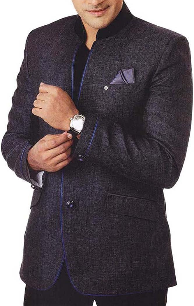 INMONARCH Mens Gray 3 Pc Tuxedo Suit Nehru Collar TX960