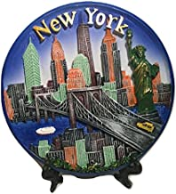 New York City Souvenir Plate with 3D Statue of Liberty, Empire State Bldg. Freedom Tower, Brooklyn Bridge & NYC Taxi - New...