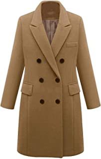 Surprise S Women Winter Warm Thicken Double Breasted Windproof Jacket Slim Fit Long Woolen Coatts
