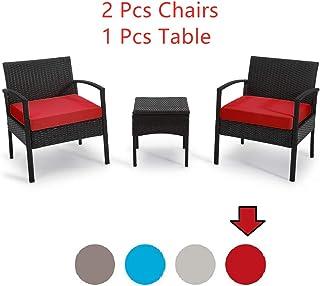 Patio Outdoor Chairs 3 Set-1 Conversation Table & 2 pcs...