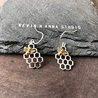 Sterling Silver Honeycomb with Bronze Bee Earrings