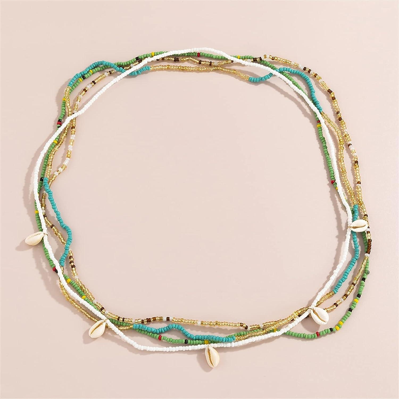 PAOMIAN 4Pcs/Set Natural Pendant Harness Waist Belly Chain Rainbow Seed Beaded Chain Bikini Body Jewelry (Metal Color : H302065)