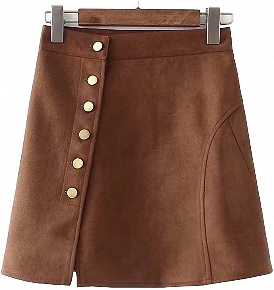 Dawery Womens Vintage Suede Mini A-Line Skirt Faldas Mujer Buttons Solid Ladies Retro Basic Casual Streetwear Chic Skirts