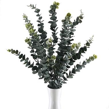 NAHUAA 3pcs Plante Artificielle Feuilles D'eucalyptus Artificiel 5 Branches Fausses Plantes pour Exterieur Interieur Déco