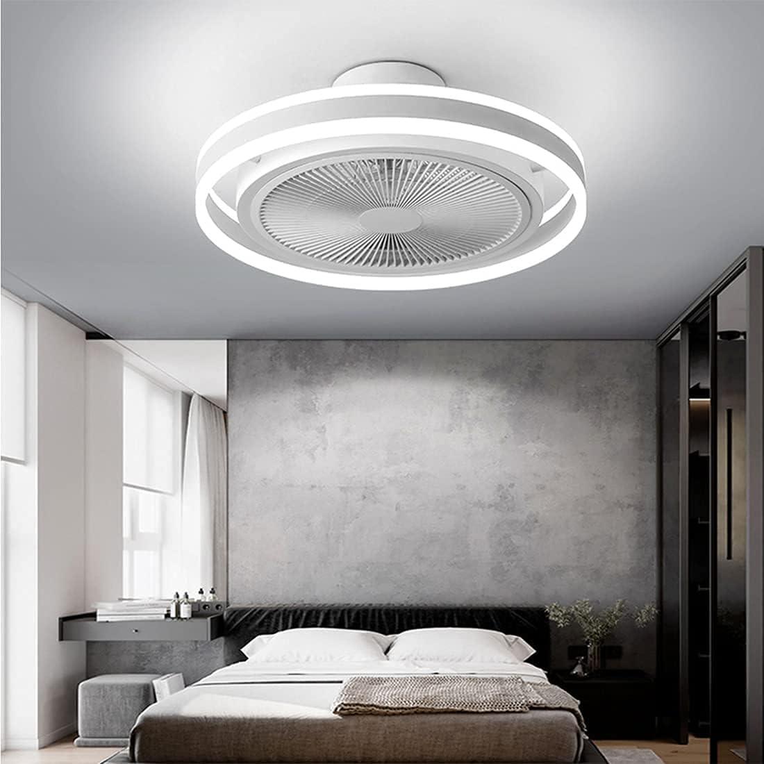Lámpara de techo con ventilador, LED, moderna, regulable, con mando a distancia, color blanco y negro, luz de ventilador para dormitorio, habitación de los niños, salón, estudio, restaurante (blanco)