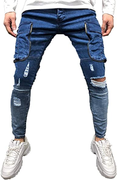 Fashion Causal Mens Pocket Zipper Slim Fit Shredded Long Jeans Pants Trousers Blue At Amazon Men S Clothing Store