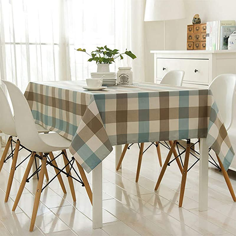 Comfy Home Blue Grey Checkered Tablecloth Waterproof Table Cover For Kitchen Dinner Thanksgiving And Holiday Table Decoration Square 52 X 52 Inch