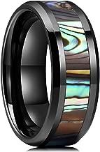 King Will Nature 8mm Black Ceramic Wedding Ring Engagement Band Abalone Shell Inlay Polished Beveled Edge