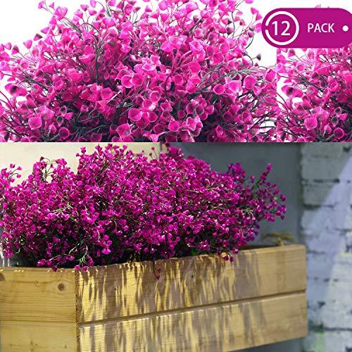 WILLBOND 12 paquetes de flores artificiales para exteriores, resistentes a los rayos UV, arbustos artificiales decorativos para arreglos florales, centro de mesa, decoración de casa, jardín, cocina
