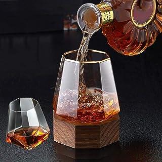 父の日ギフトウイスキーグラス ワイングラス カクテルグラス 日本酒グラス,八角形の木製ベース,340MLグラスワイングラスセット,多機能デカンター,ダイヤモンド型ジュースカップウォーターカップ