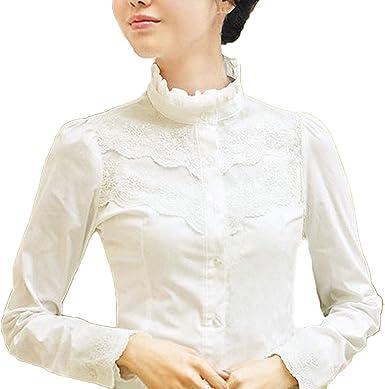 Blusa para mujer Nonbrand, de mangas largas, de invierno, diseño con encaje, estilo victoriano y vintage, para la oficina