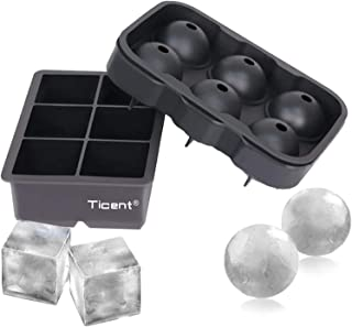 Ticent Ice Cube Trays (Set of 2), Silicone Sphere Whiskey Ice Ball Maker with Lids & Large Square Ice Cube Molds for Cockt...