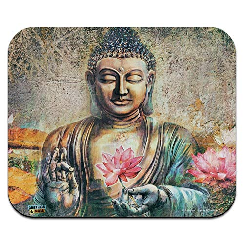 Buddha Pink Lotus Flowers Serenity Low Profile Thin Mouse Pad Mousepad