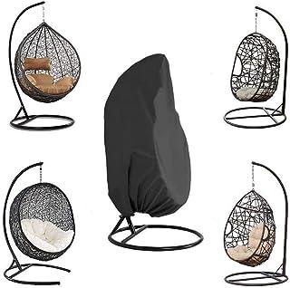 Funda para Silla Colgante, Impermeable Cubierta de Silla Colgante para Patio, Resistente al Viento, Anti-UV, Tela Oxford 210D Resistente Cubierta para Mecedora, Silla de Columpio(190 x 115 cm) (negro)