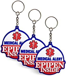 3 Pack - Epipen Inside - Rubber Bag Tags/Keychains, Allergy Medical Alert, For Keychain/Backpack Zipper, Adult & Child