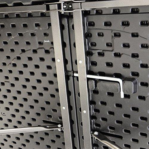 Partytisch Klapptisch Gartentisch Rattan-Optik 180 x 75 cm schwarz stabil Esstisch Buffettisch Tragegriff bis 170 kg - 6