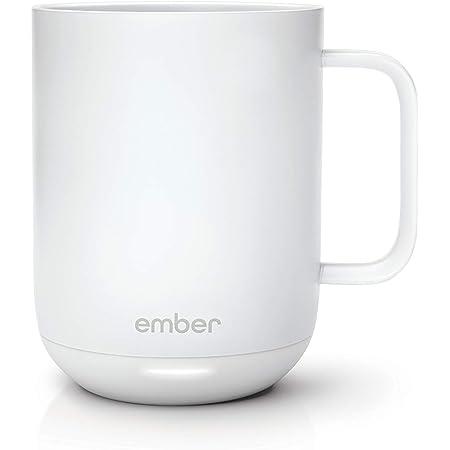 Ember Temperature Control Smart Mug, 10 Ounce, 1-hr Battery Life, White - App Controlled Heated Coffee Mug