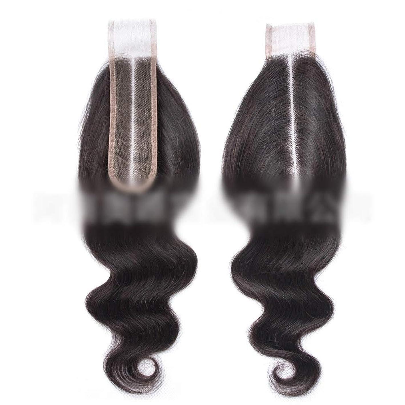 宗教ルーフ尾YESONEEP ブラジルのバージン実体波の毛ブラジルの人間の髪の毛中央部2 x 6レース前頭閉鎖ロールプレイングかつら女性のかつら (色 : 黒, サイズ : 16 inch)