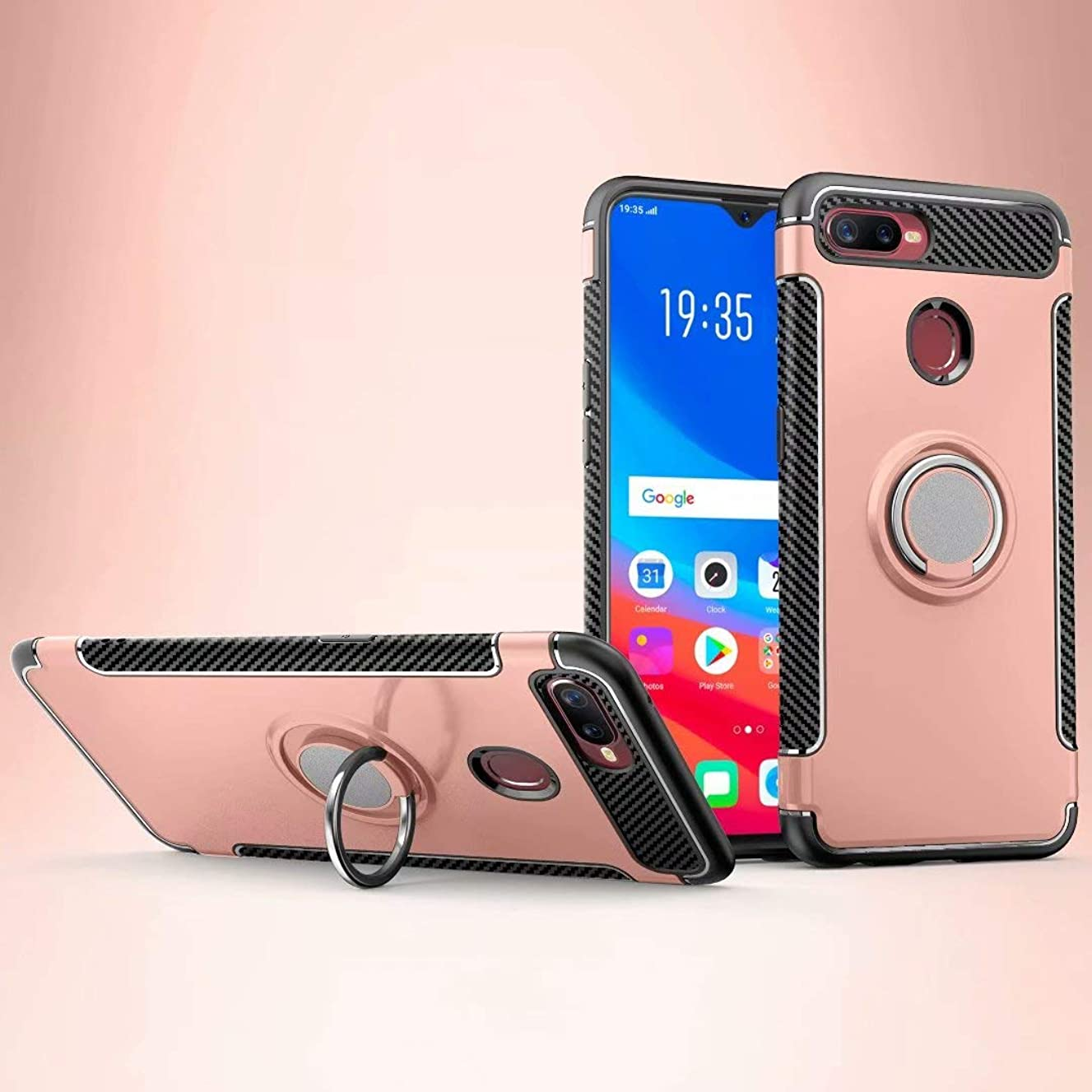 CHENJUAN Armor Dual Layer 2 in 1 Heavy Duty Shockproof Protection Case with 360 Degree Rotating Finger Ring Holder and Magnet Car Holder Case Design for Oppo F9/F9 Pro/Oppo A7X (Color : Rose Gold)