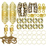 RechicGu Vintage Gold 42Pcs Dreadlock Loc Beard Beads Viking Rasta Updo Braid Hair Dress Pin Accessories Egyptian Swirl Cross Dragon