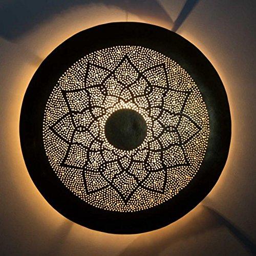 Orientalische Wandlampe marokkanische Wandleuchte Aladdin Ø 37 cm aus Messing Antik-Gold-Look | Echte Handarbeit - Kunsthandwerk aus Marrakesch | Prachtvolle Wand-Dekoration Wandbeleuchtung | L1851