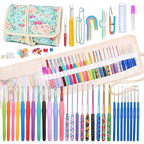 106 Pack Crochet Hooks Set, 20 Sizes(0.6mm-8.0mm)Ergonomic Knitting Needle Weave Yarn Kits with Storage Case and Accessories, Crochet Needles Kit for Beginners and Experienced Crochet Hook Lovers
