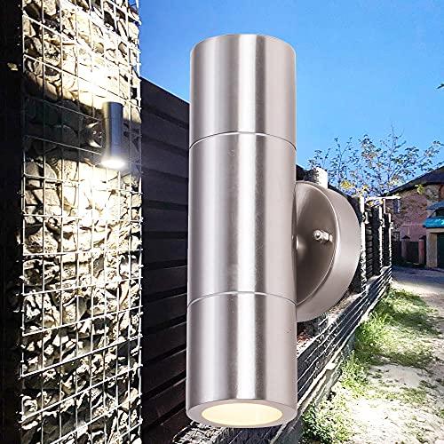 2 piezas de luz de pared para exteriores, DYBITTS LED IP65 Lámpara de pared moderna de acero inoxidable Diseño de cilindro de aleación de aluminio Aplique de pared exterior arriba abajo para uso