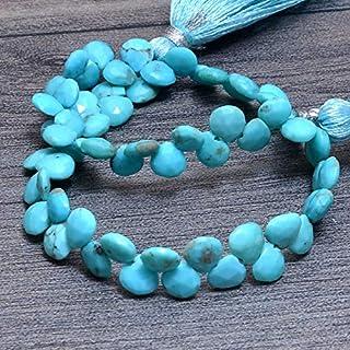 Briolette facetado de piedras preciosas turquesa, perlas de corazón turquesa natural de 5 mm | Briolette de piedras precio...