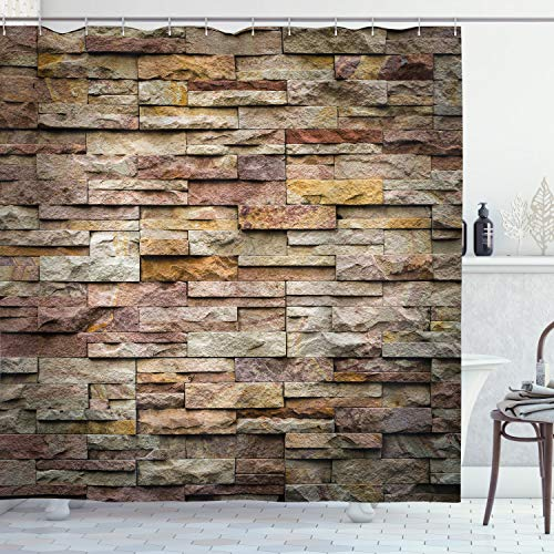 Ambesonne Marble Shower Curtain, Urban Brick Slate Stone Wall with Rocks Featured Facade Architecture Town Picture, Cloth Fabric Bathroom Decor Set with Hooks, 75' Long, Light Brown
