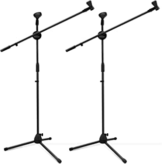 Microphone Stand, Ohuhu Tripod Boom Mic Stands, Dual Mic Clip, Collapsible, Black