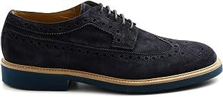 ROSSANO BISCONTI Zapato Derby de hombre azul de ante - 466 01 Softy Azul 501 - Talla