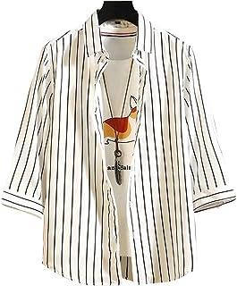 Tomnana メンズ シャツ 7分袖 薄手 カジュアルシャツ ストライプ柄 大きいサイズ トップス 春 夏 秋 オシャレ