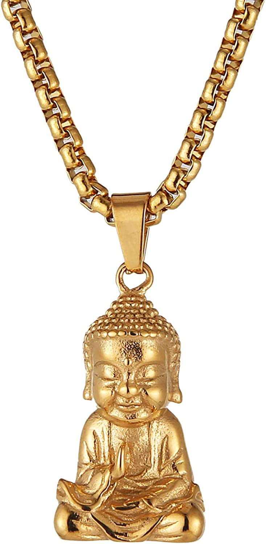 HZMAN Vintage Stainless Steel Tibetan Amitabha Buddha Pendant Mala Prayer Buddhist Necklace Lucky Amulet