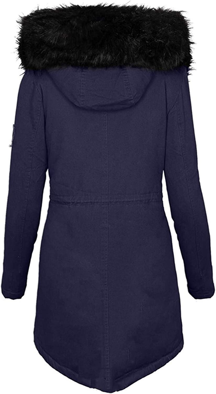 HGWXX7 Jacket for Women Zip Up Faux Fur Hood Parka Jacket Casual Plus Size Waist Drawstring Winter Coats with Pocket Navy
