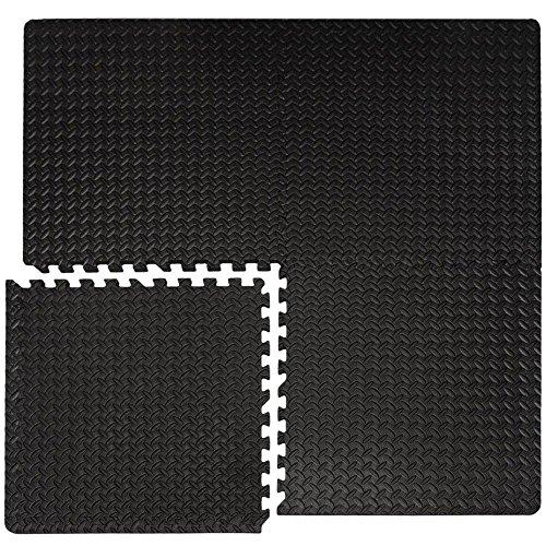 EYEPOWER 4er Set 1cm Bodenschutzmatten 63x63 - Fitness Bodenmatte 1,6qm - Schutzmatte mit Rand