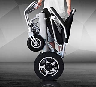 2019 New Majestic Buvan Remote Control Electric Wheelchairs Silla de Ruedas Electrica para Adultos FDA Approved Transport Friendly Lightweight Folding Electric Wheelchair for Adults (Silver)