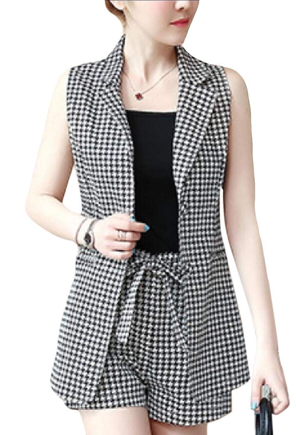 夕食を作る登録スープWomens Stripe 2 Piece Sleeveless Blazer Vest Shorts Outfits Set