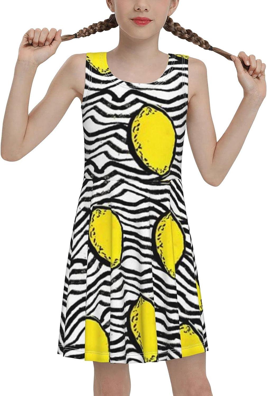 SDGhgHJG Lemon Sleeveless Dress for Girls Casual Printed Jumper Skirt