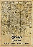 Springs Colorado USA Vintage Map Poster Springs Colorado