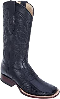 Genuine Ostrich Leg Black Wide Square Toe Los Altos Men's Western Cowboy Boot 8210505