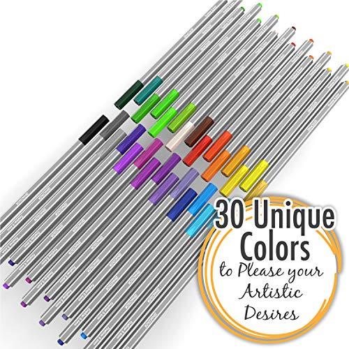 Zenacolor 30 Pennarelli Punta fine - con Scatola Astuccio - Colori Pennarelli per Adulti FineLiner 0.4mm - Ideali per Scritte, Disegno di precisione, Sfumature, colorare, Fumetti, Manga.