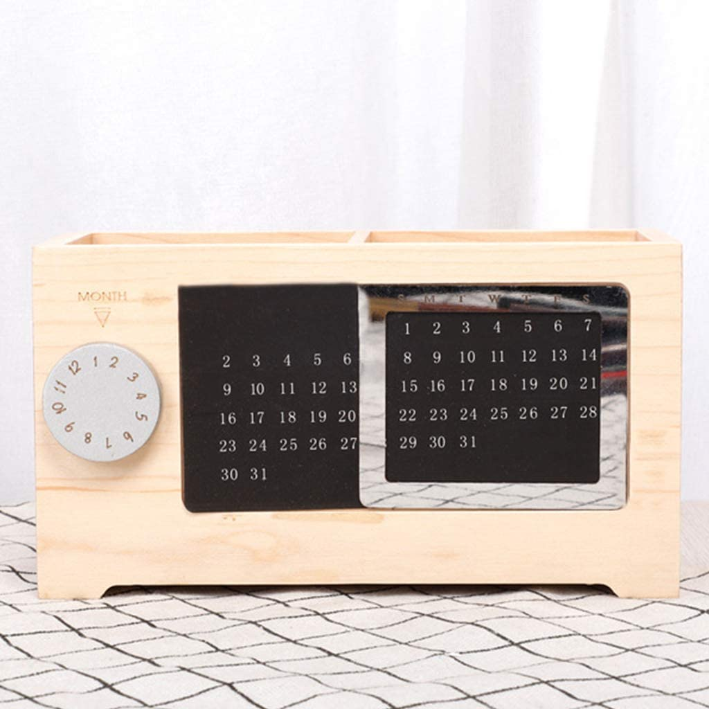 LINNSZ Solid Wood Perpetual Calendar Pen Holder Storage Box Crea