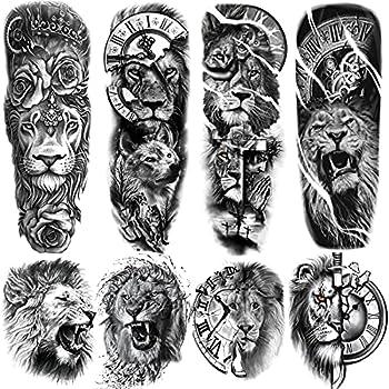 Lion Temporary Tattoos Sleeve 4-Sheet Large Fake Lion Arm Temporary Tattoos and 4-Sheet Black Animal Full Arm Sleeve Tattoo Sticker Body Art for Women Men