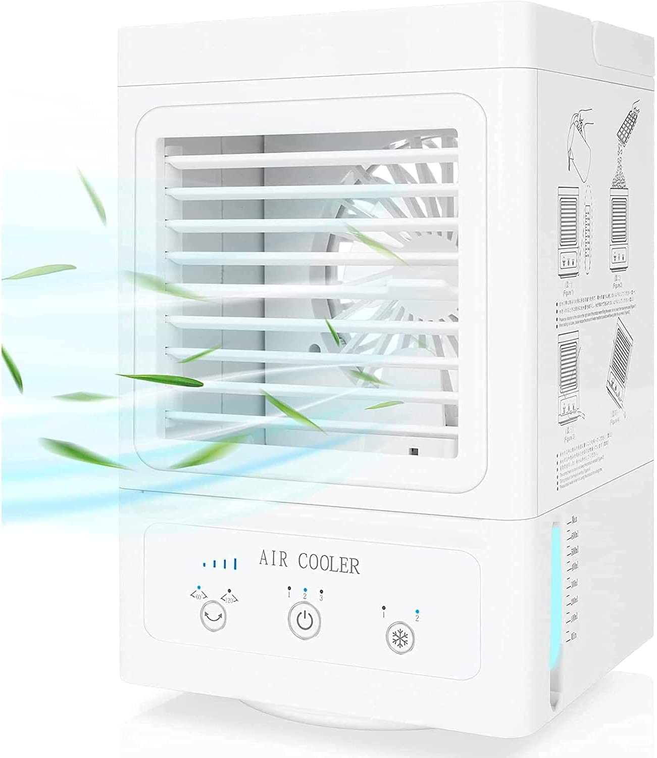 Portable Air Cooler Battery Operated Personal Air Conditioner for Bedroom Office Table Camping Outdoor-5000mAh Rechargeable Battery Auto Oscillation 700ml Water Tank