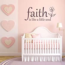 CECILIAPATER Faith Wall Decals Faith is Like A Little Seed with Flower Image Vinyl Home Wall Decor