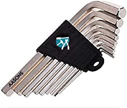 AASONS Hex Allen Key Set of 9 Pieces 1.5mm to 10mm with Holder (Silver/Black) (Silver)