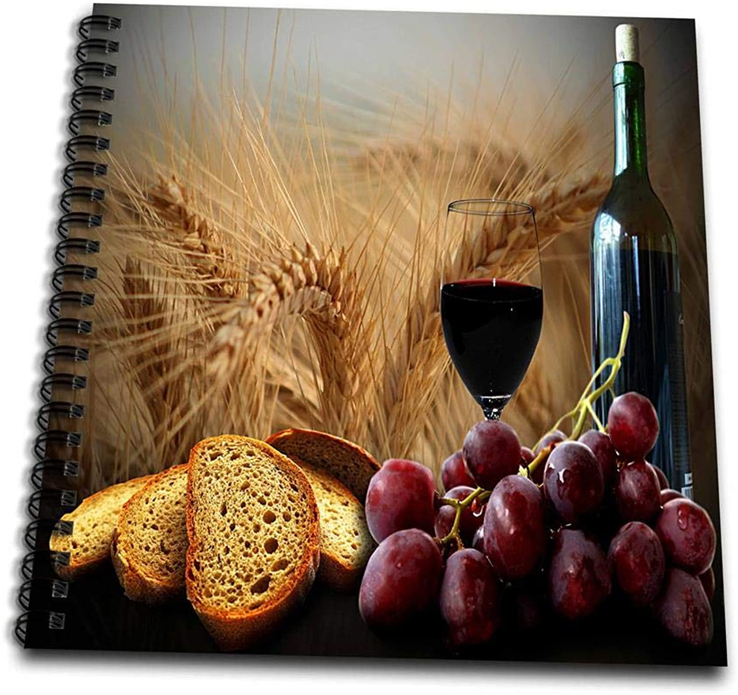3dpink db_14294_1 Wine Bread Grapes Drawing Book, 8 by 8